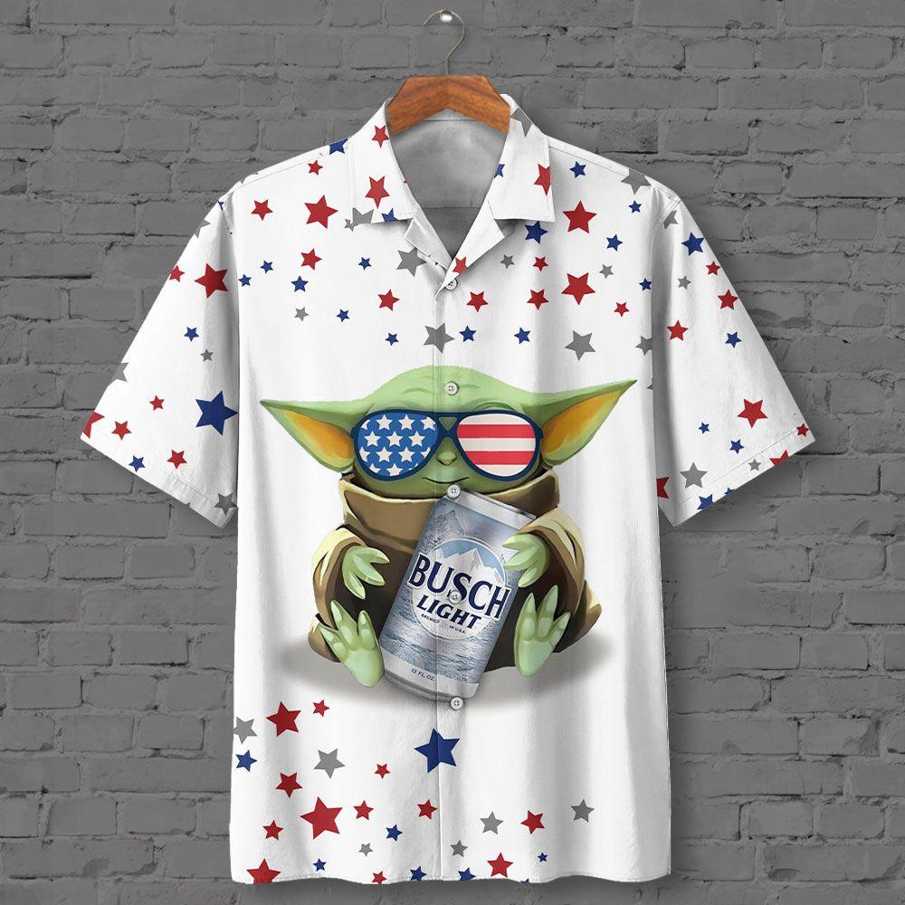 BABY YODA WITH Busch Light Beer Star Hawaiian Shirt