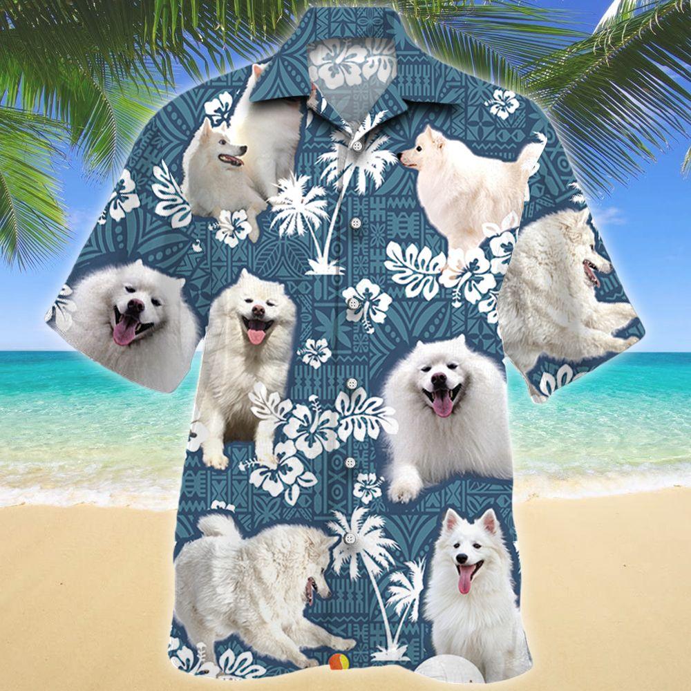 American Eskimo Dog Blue Tribal Pattern Hawaii Shirt