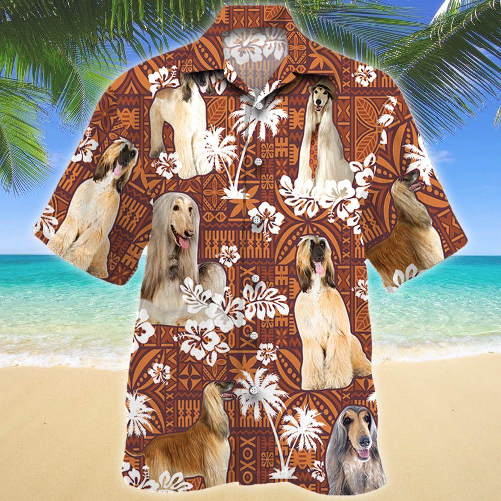 Afghan Hound Dog Red Tribal Pattern Hawaii Shirt