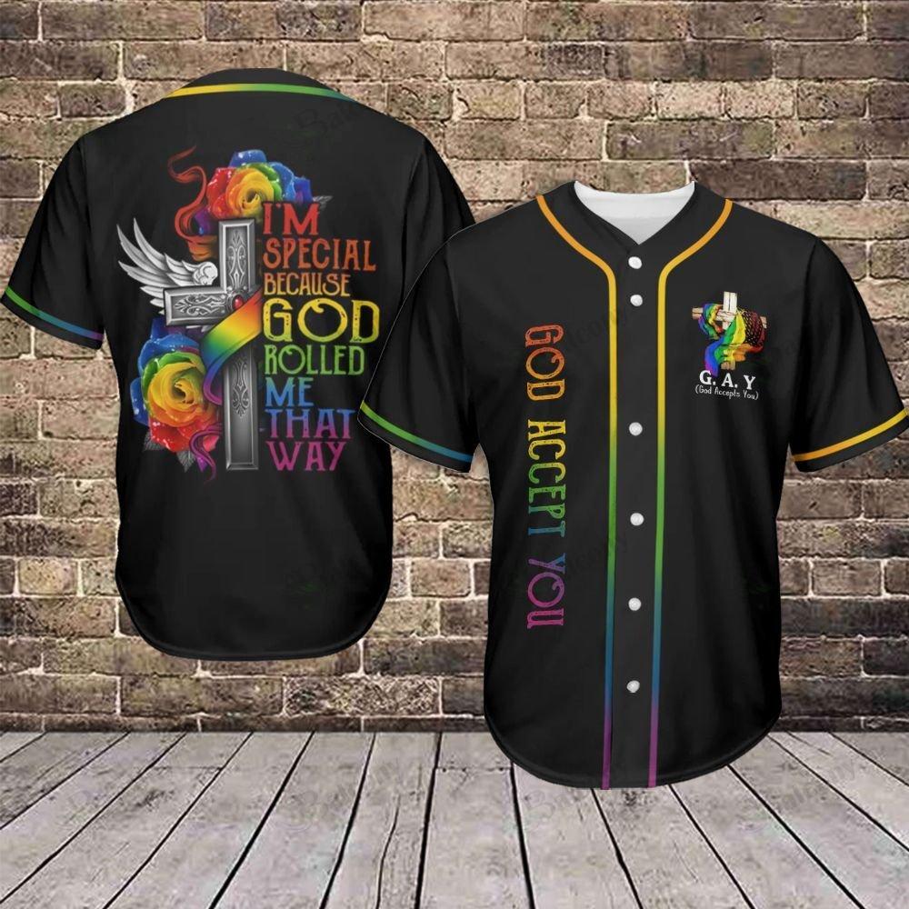 LGBT God Accept You God rolled me that way Cross Baseball Jersey shirt