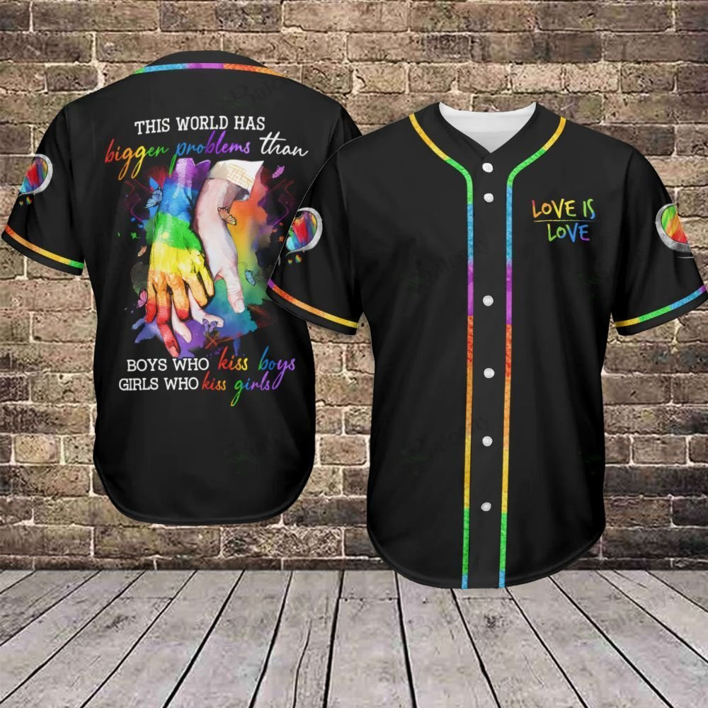 LGBT Boys kiss boys Love is Love Baseball Jersey shirt