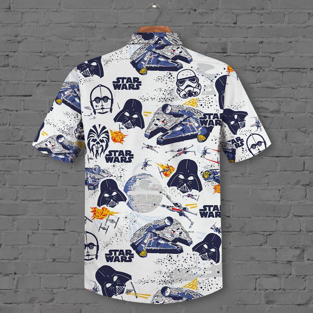 Star Wars Darth Varder droids and starship Hawaiian Shirt