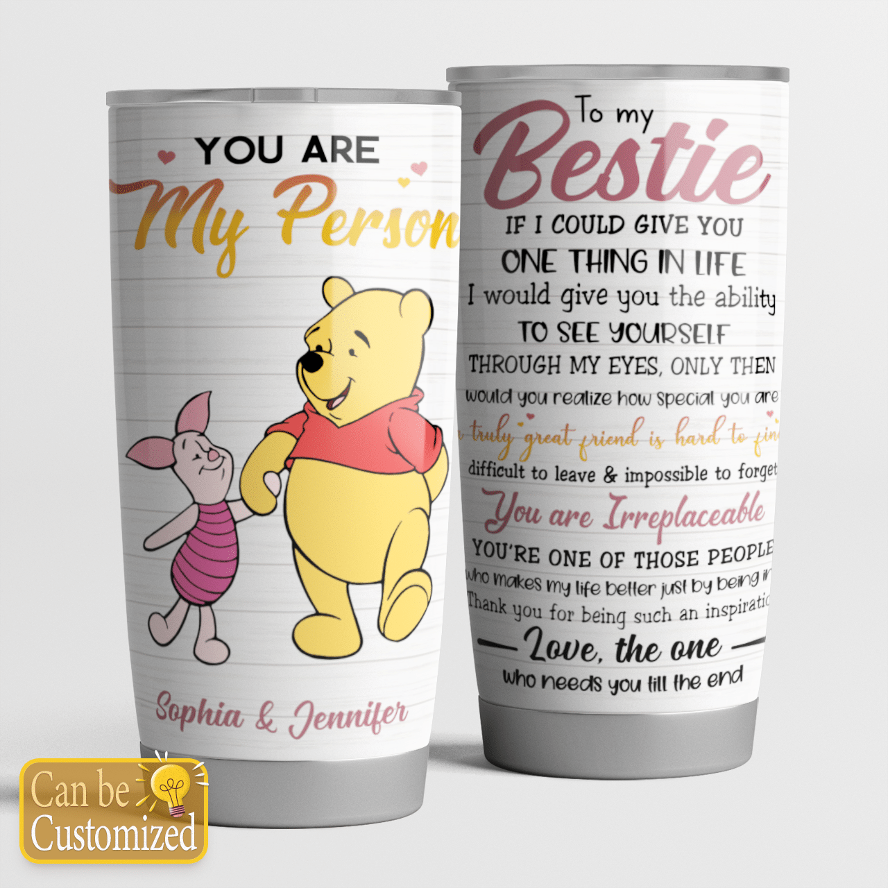 Personalized Pooh And Piglet You Are My Person Besties Tumbler