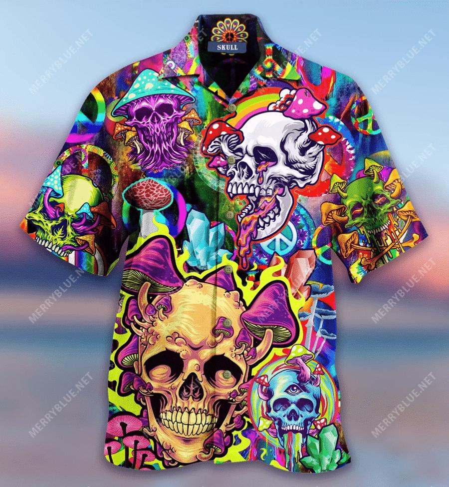 Mushroom Skull Trippy Hawaiian Shirt