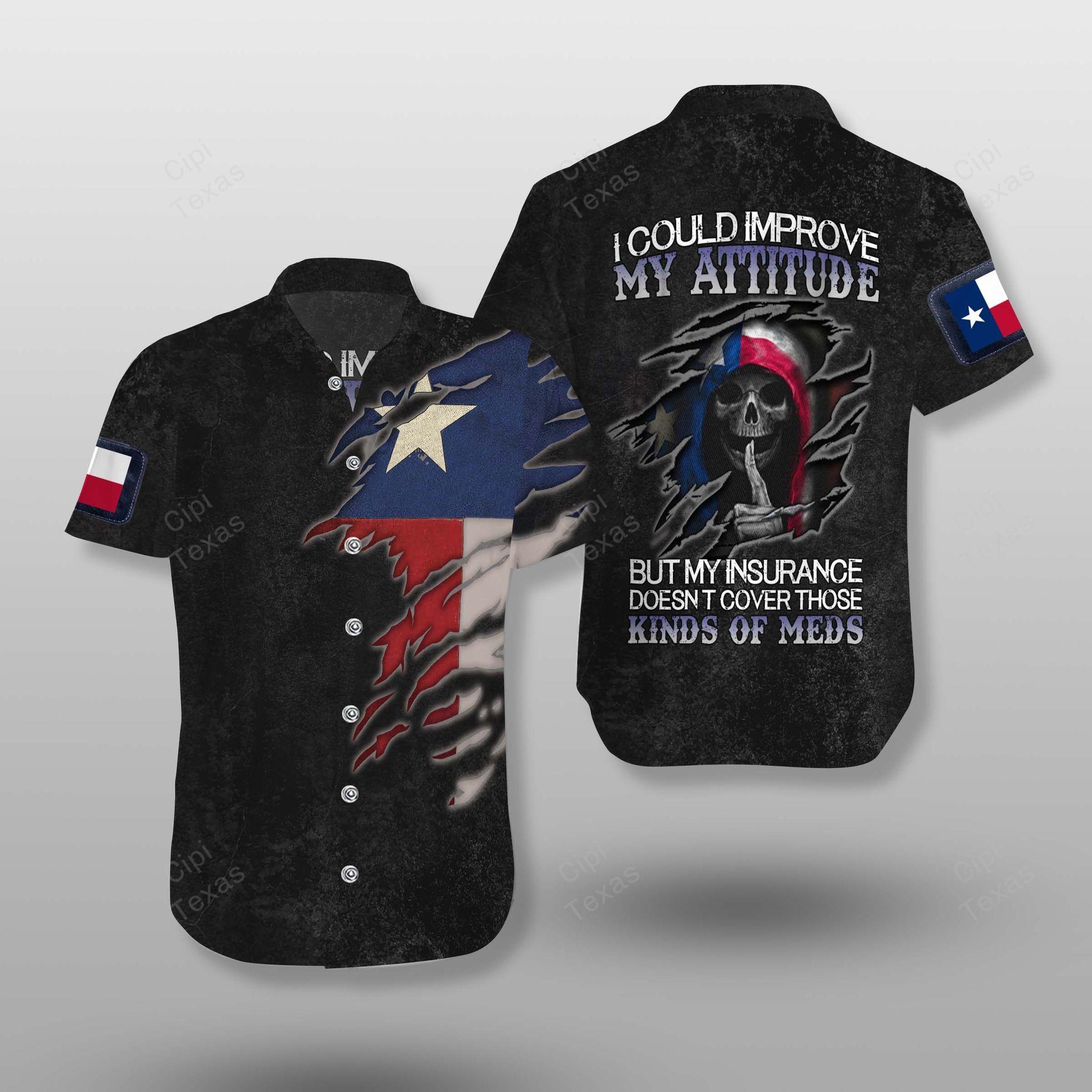 Skull Texas Flag Improve attitude Hawaiian Shirt