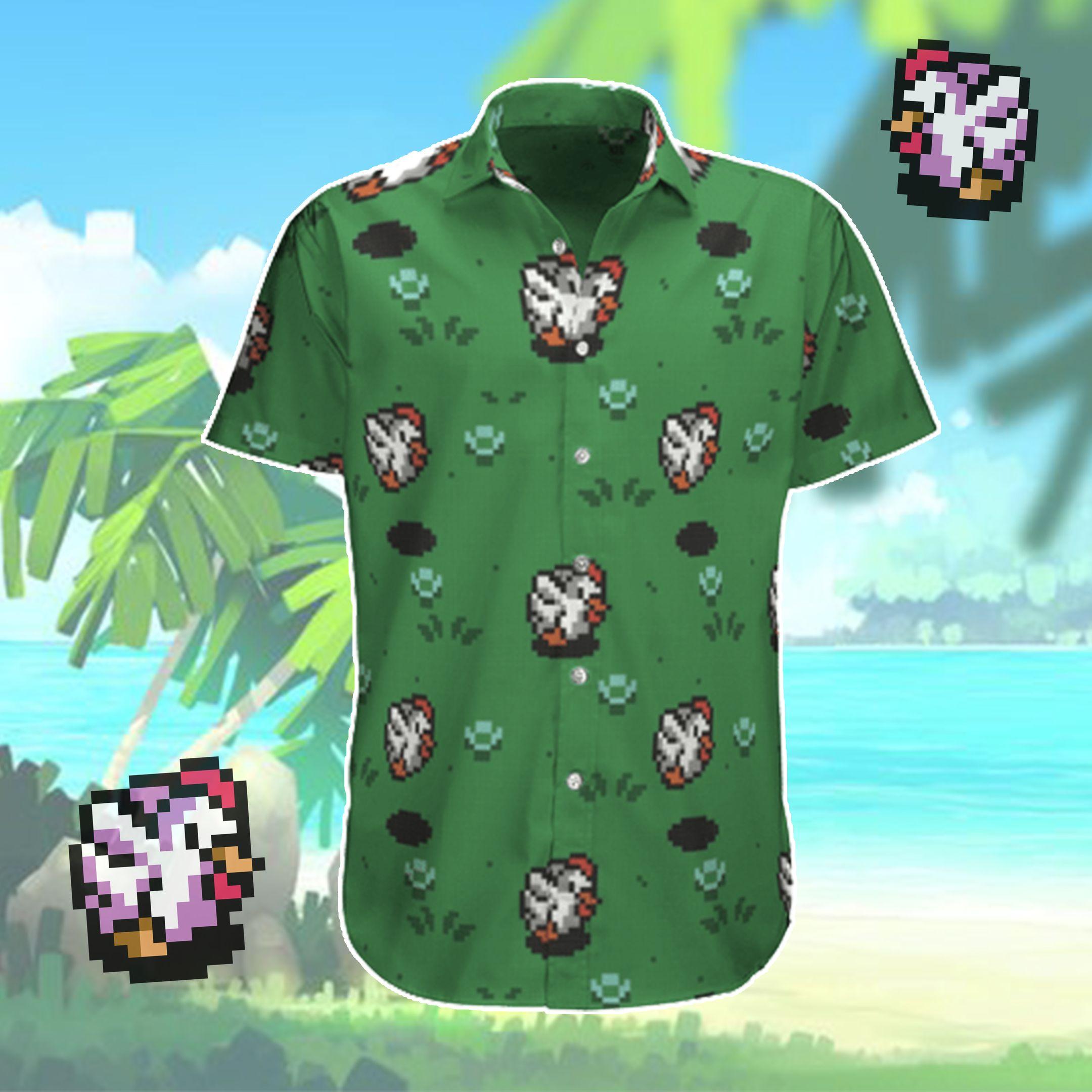 8 bit Cuccos Hawaiian Shirt and Beach Shorts