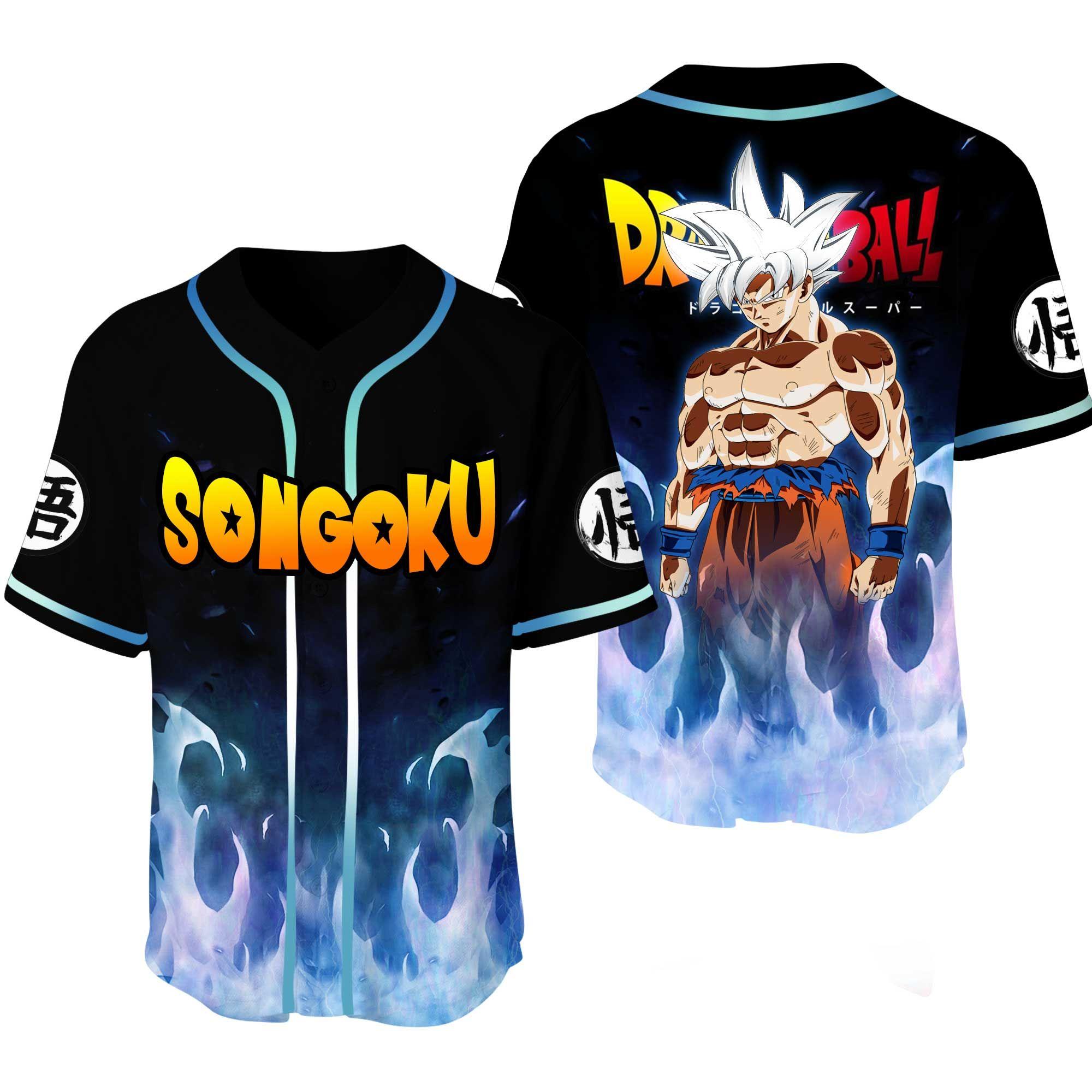 Dragon Ball Son Goku White Hair Baseball Jersey Shirt
