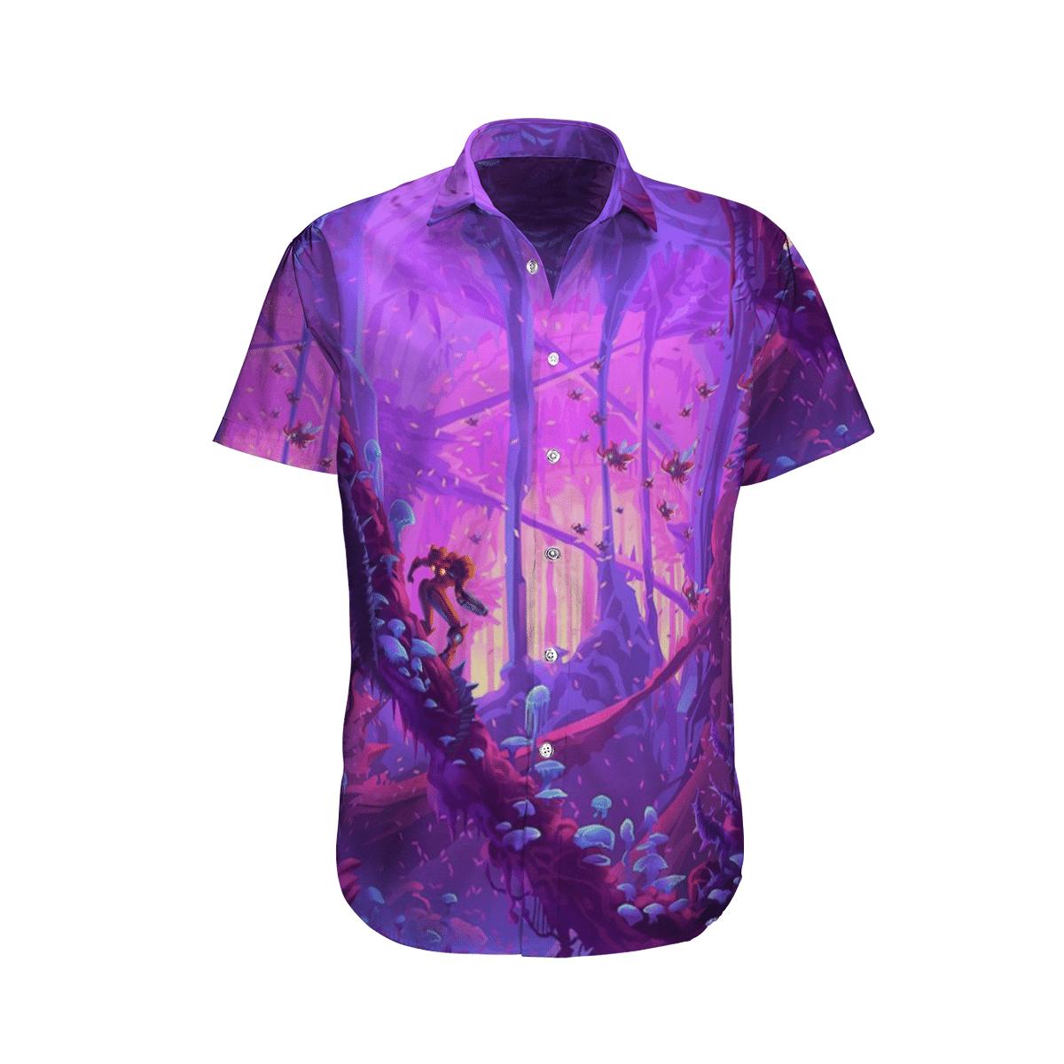Metroid Prime Purple Forest Hawaiian Shirt