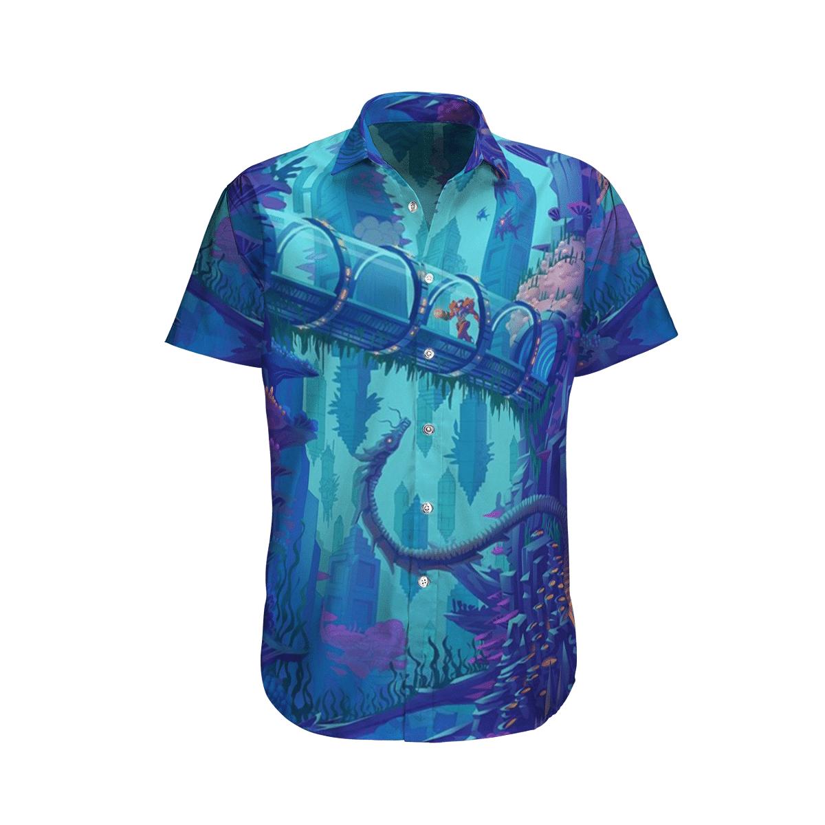 Metroid Prime Blue in the ocean Hawaiian Shirt