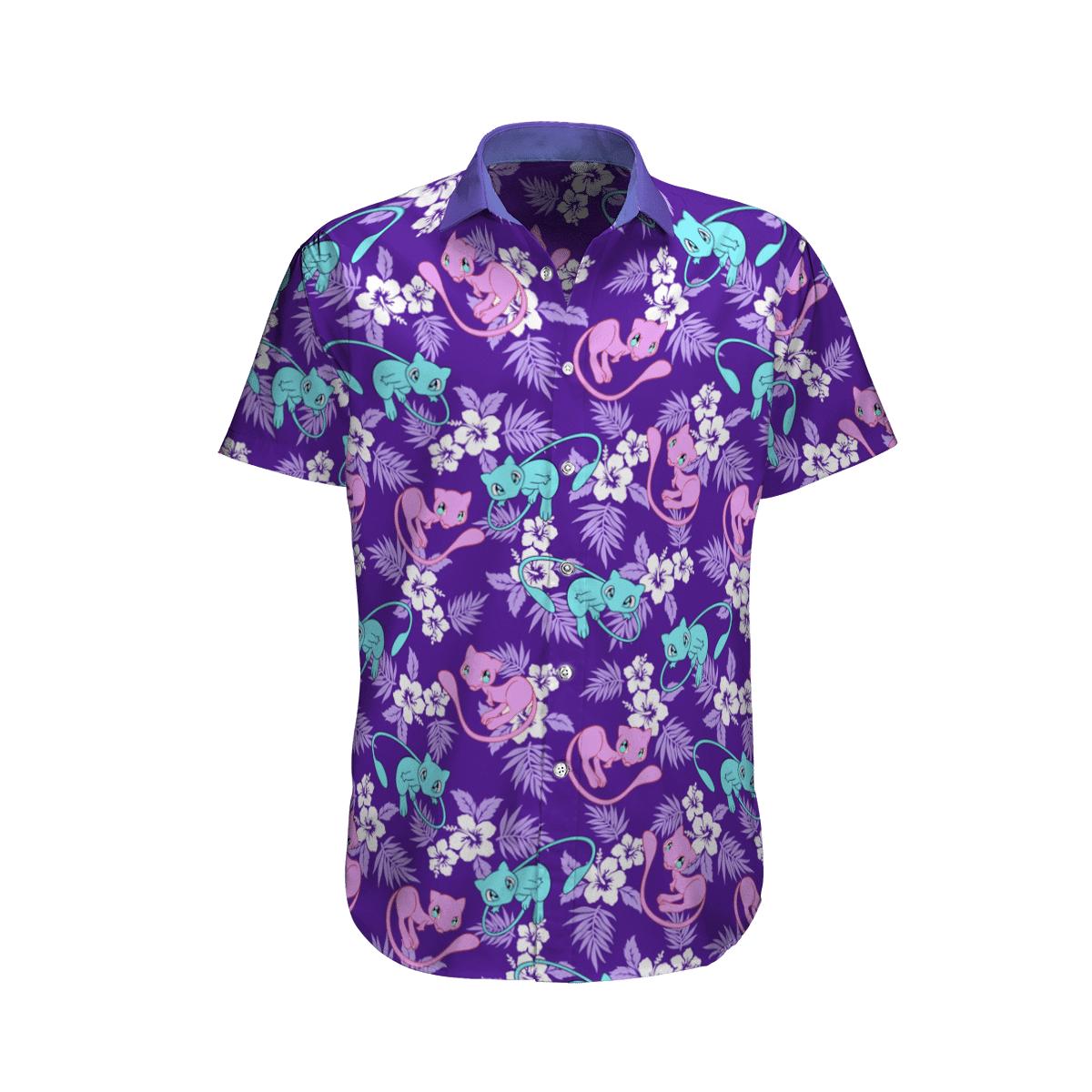Pokemon Mew Mewtwo Tropical Beach Hawaiian Shirt And Shorts