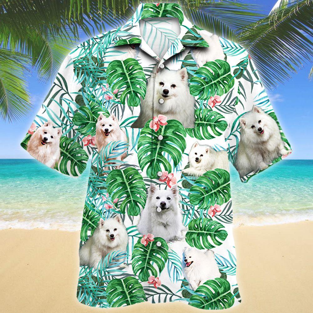 American Eskimo Dog Tropical Plant Hawaii Shirt