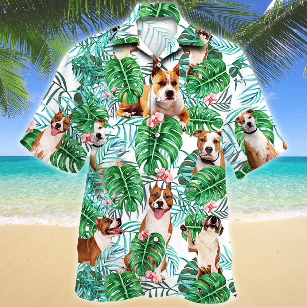 American Staffordshire Terrier Dog Tropical Plant Hawaii Shirt