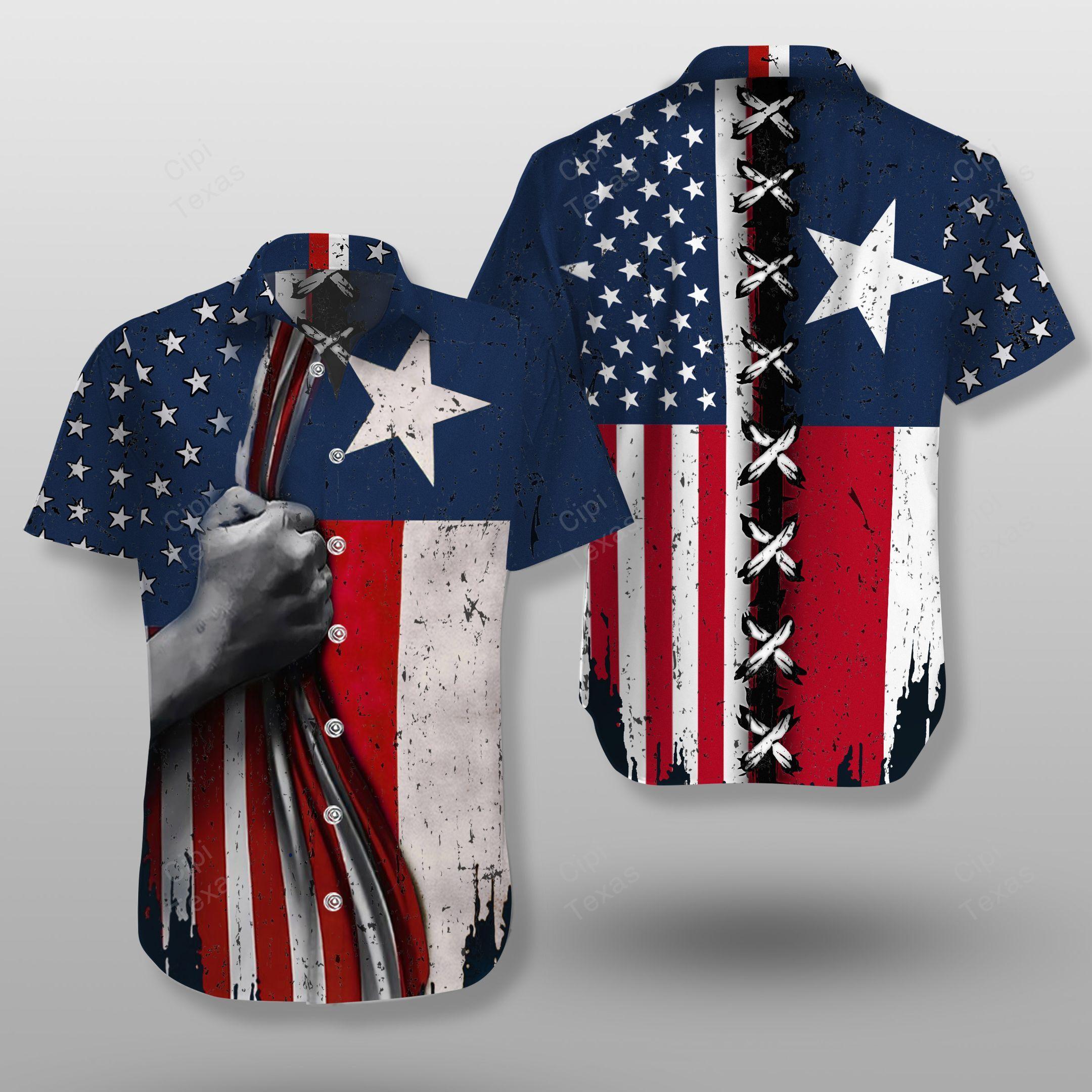 Texas American Flag Hawaiian Shirt