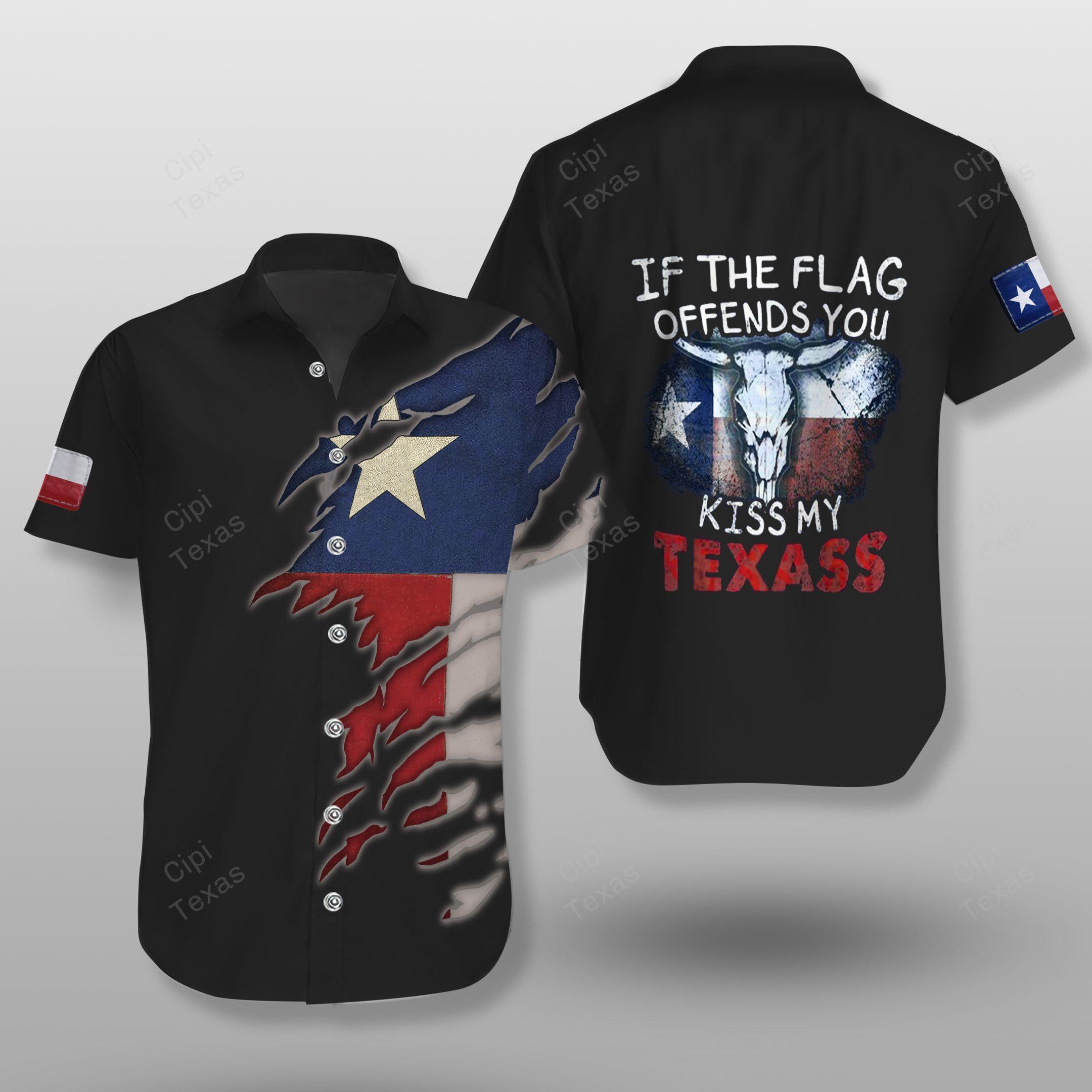 If The Flag Offends You Kiss My Texas Black Hawaiian Shirt