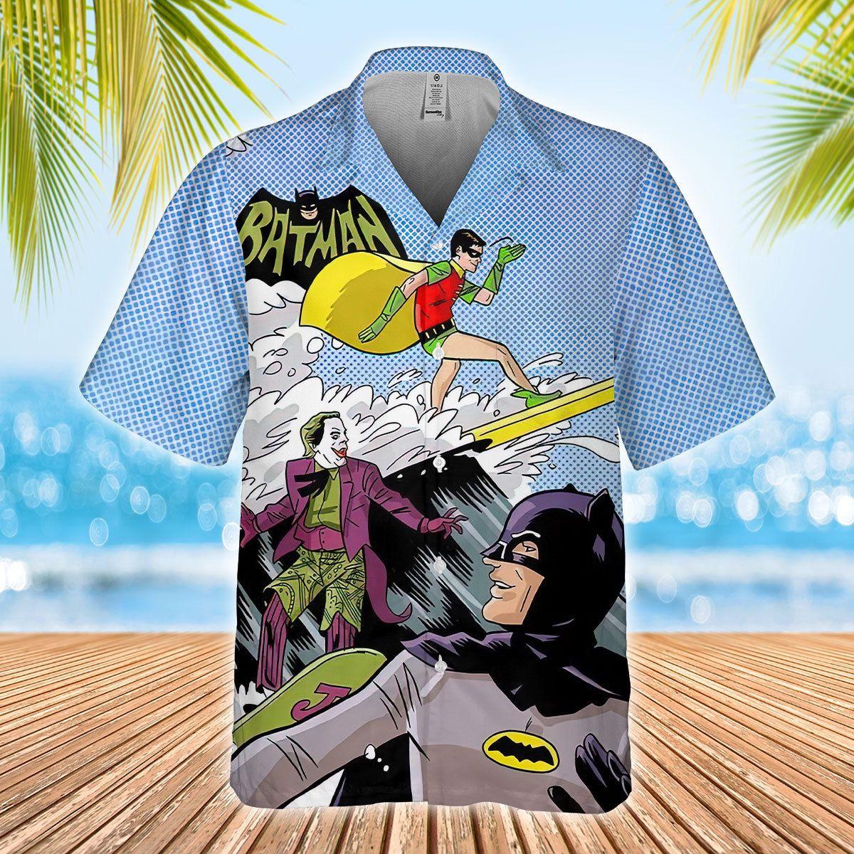 Funny Batman Robin Jorker Surfing Hawaiian Shirt