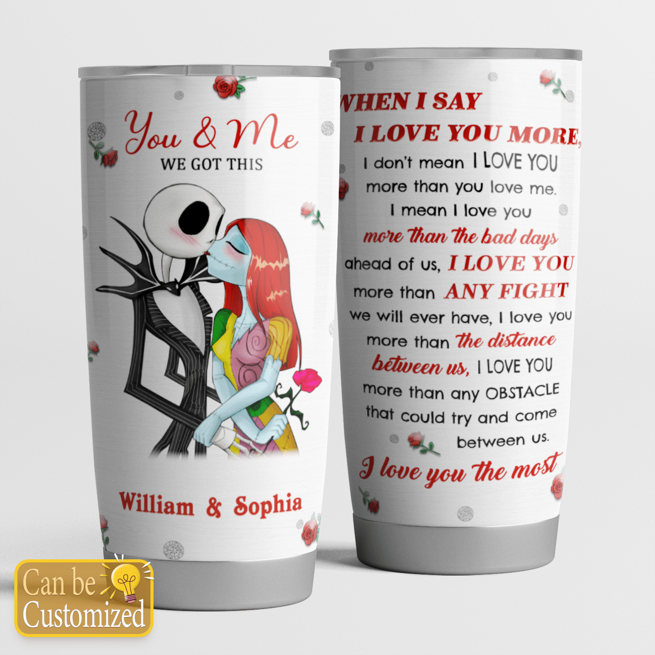 Personalized Nightmare couple When I Say I Love You More Tumbler
