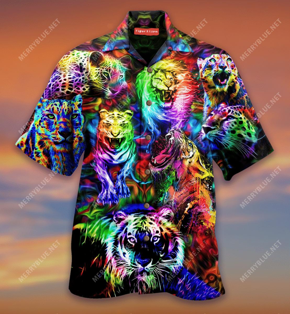 King of the Jungle Lion Tiger Leopard Colorful Hawaiian Shirt