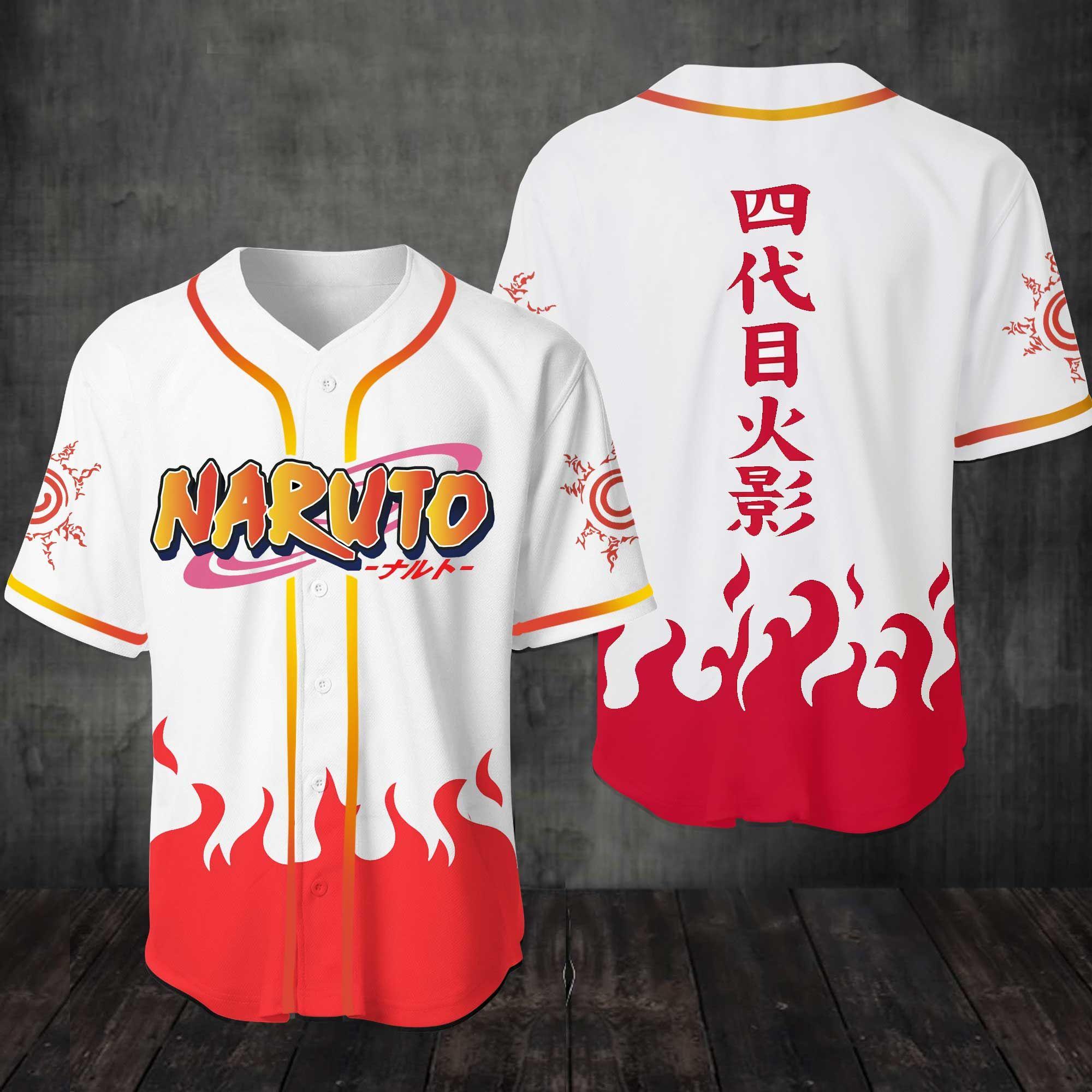 Naruto Konoha Fire of Will Baseball Jersey Shirt