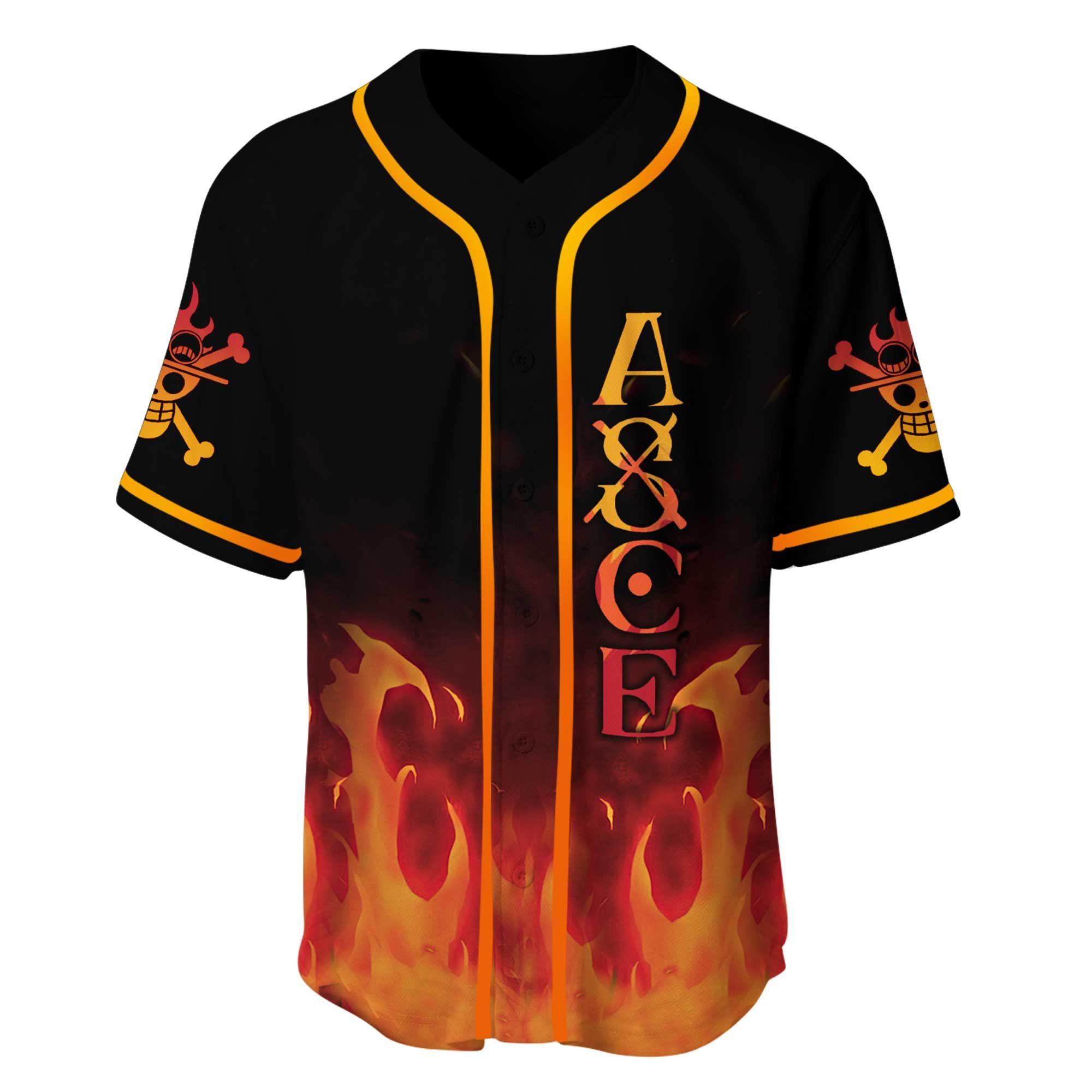 One Piece Ace Fire art Baseball Jersey Shirt