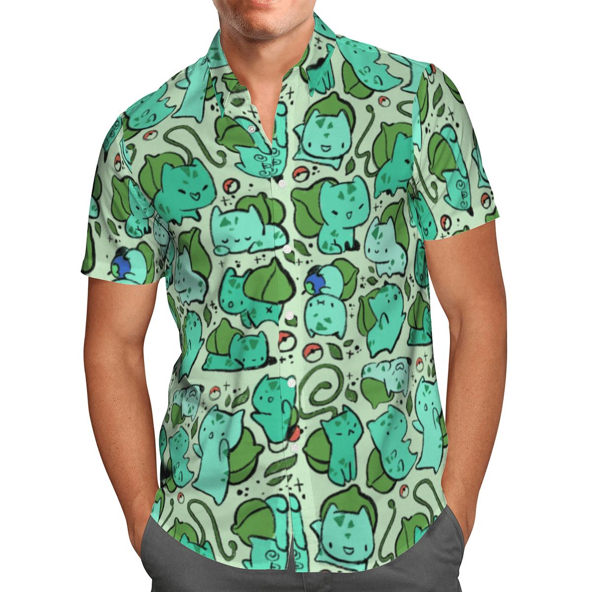 Pokemon cute Bulbasaur Hawaiian Shirt and Shorts