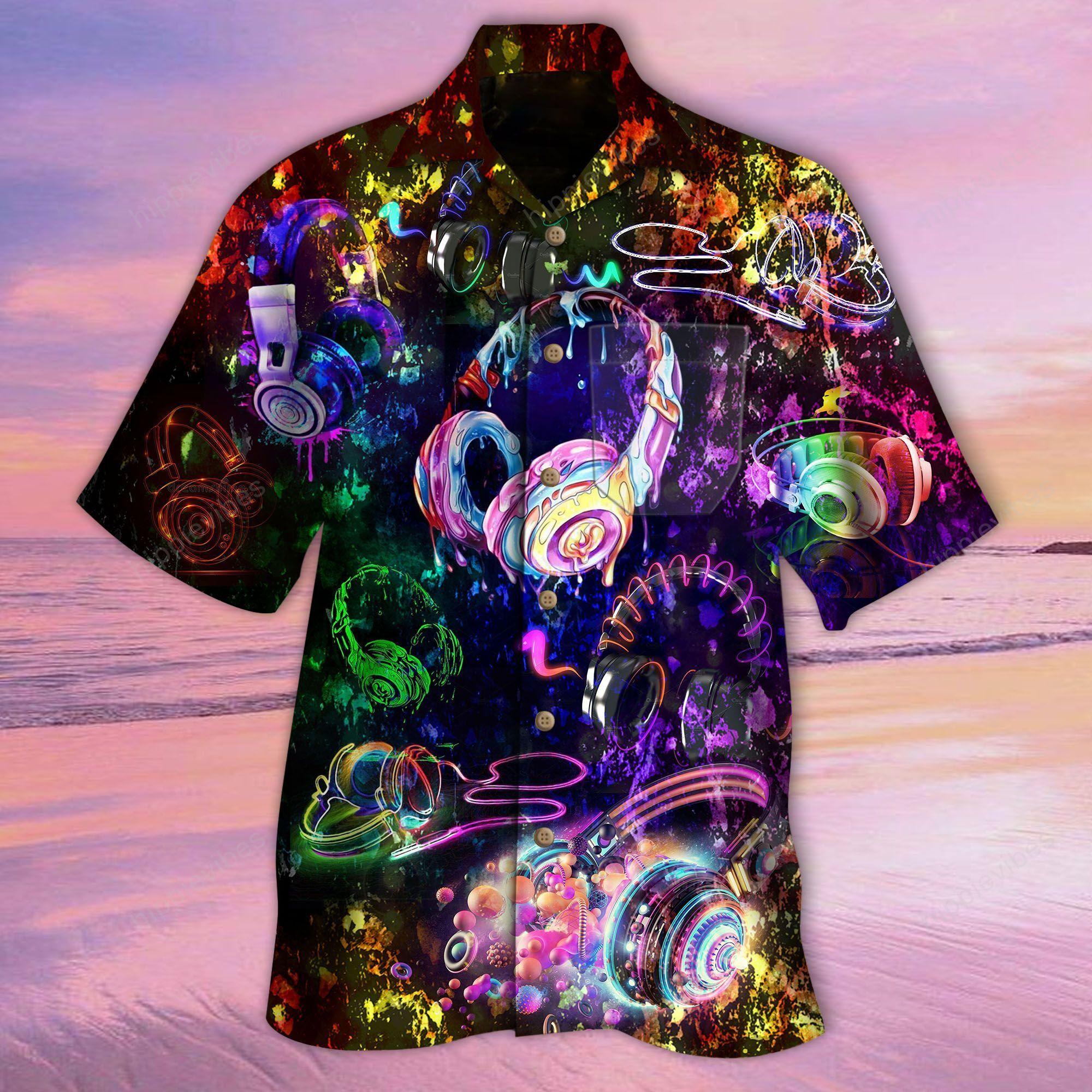 Amazing Headphone Colorful Hawaiian Shirt