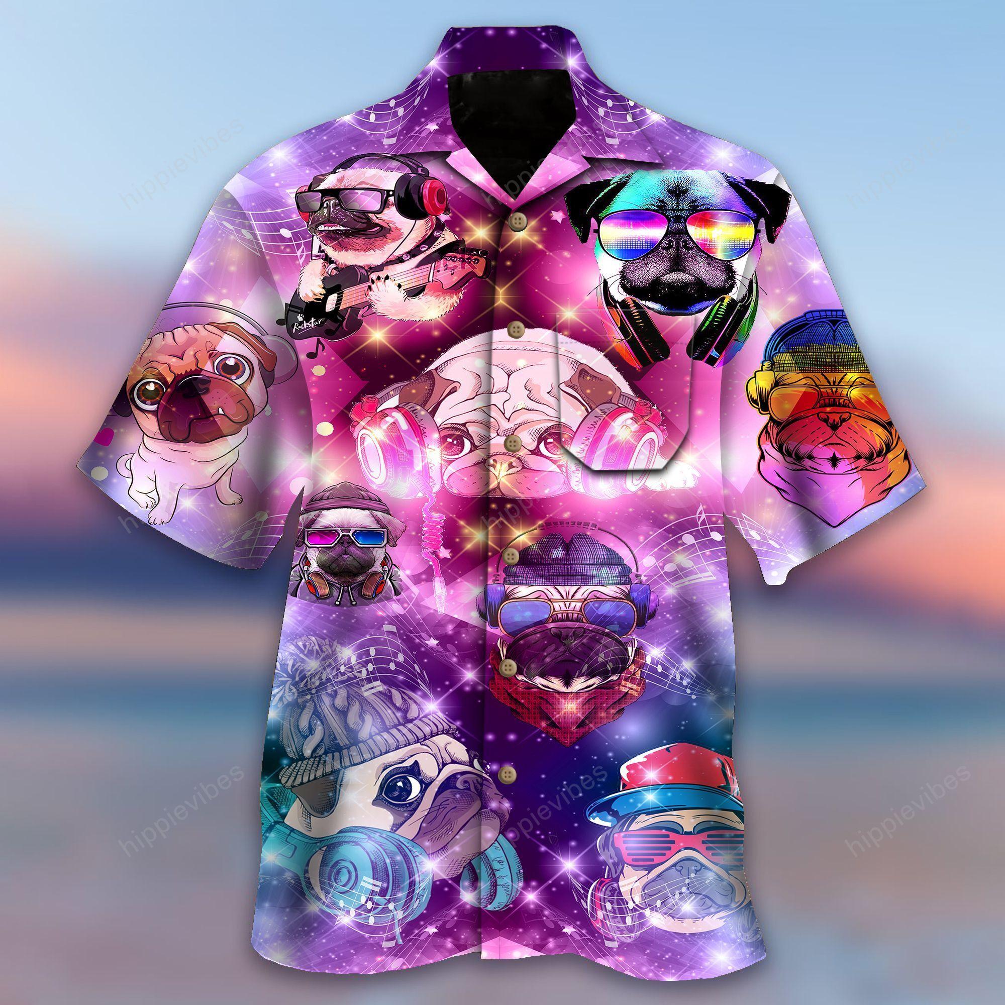 Feeling Music With Pugs Hawaiian Shirt