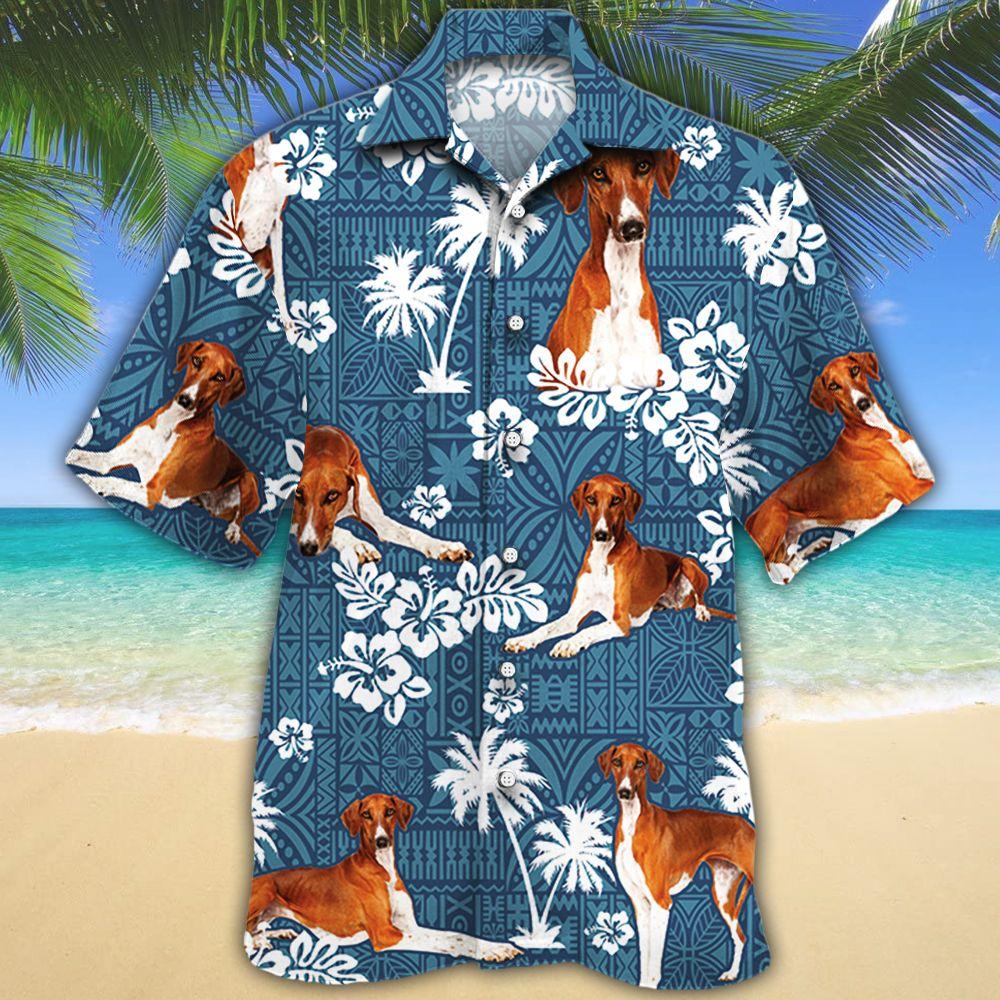 Azawakh Dog Lovers Blue Tribal Hawaiian Shirt