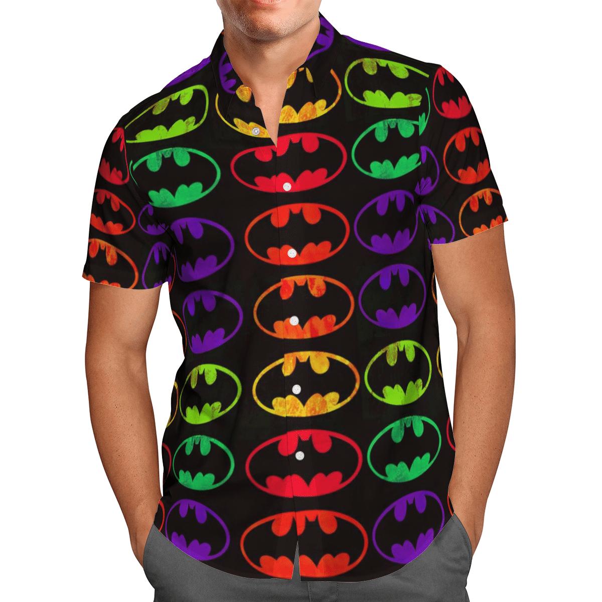Batman colorful logo Hawaiian Shirt and T Shirt