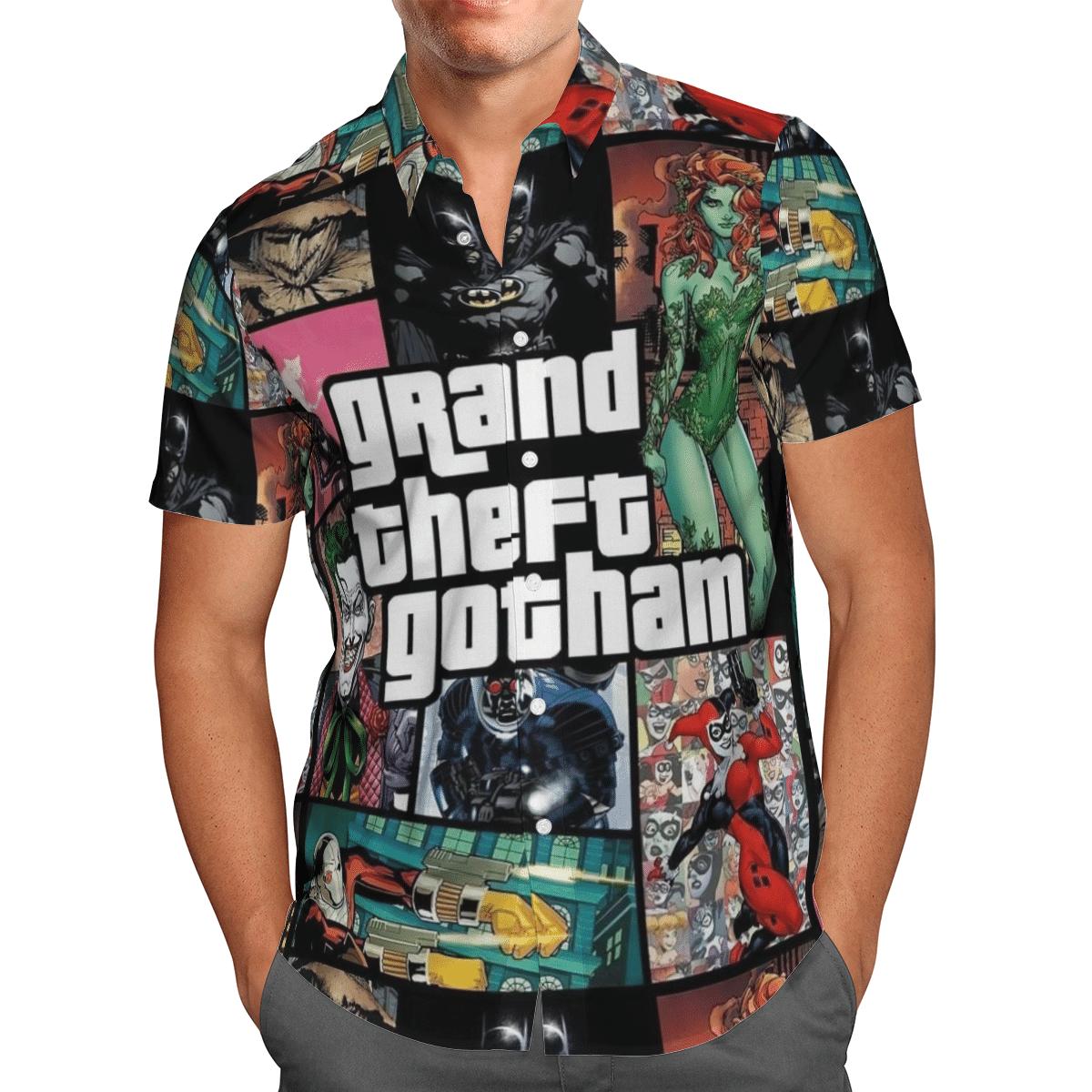 Grand theft Gotham Batman Harley Quinn Hawaiian Shirt