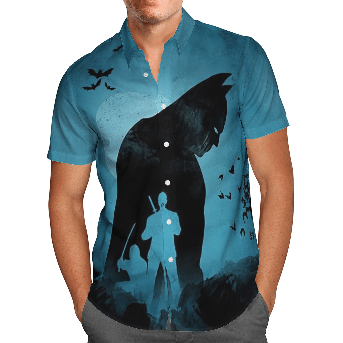 Batman Shadow with Ninja Hawaiian Shirt