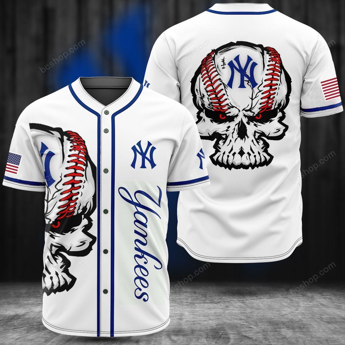 New York Yankees Skull white baseball Jersey shirt