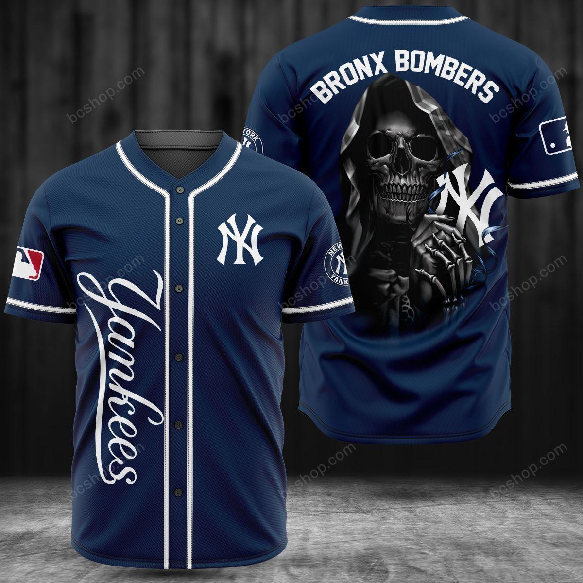 New York Yankees BronX Bombers Skull baseball Jersey shirt