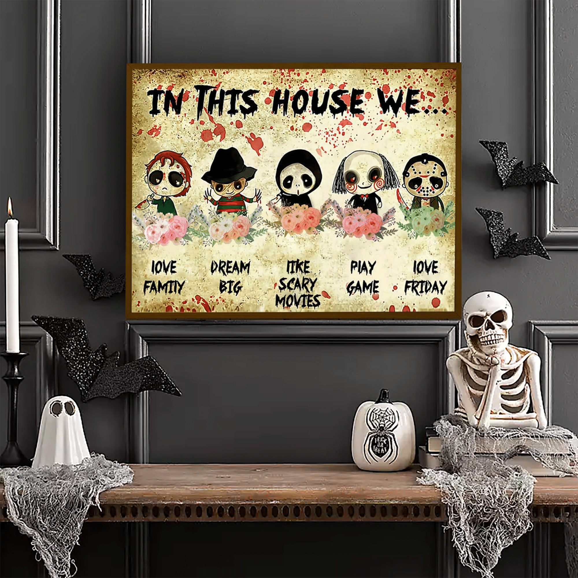 Five Horror Anime Character Halloween Poster