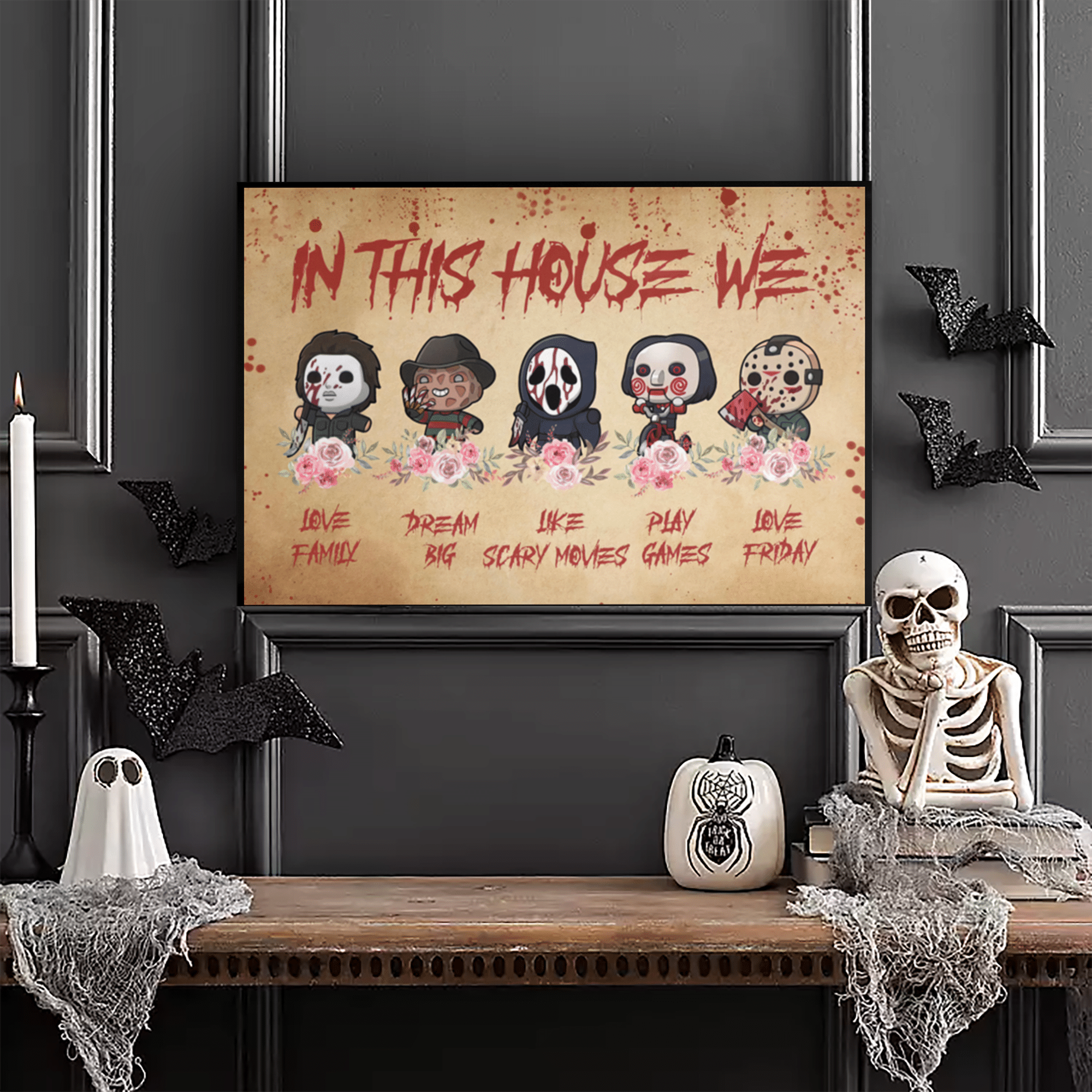 In this house Horror Character Halloween Movie Poster