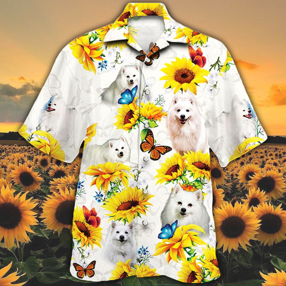 American Eskimo Dog Lovers Sun Flower Hawaiian Shirt