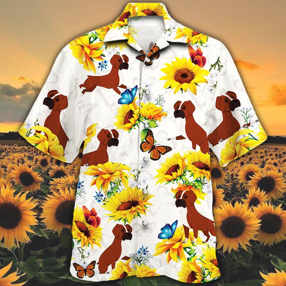 Boxer Dog Lovers Sun Flower Hawaiian Shirt