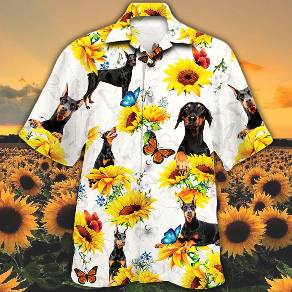 Doberman Pinscher Dog Lovers Sun Flower Hawaiian Shirt