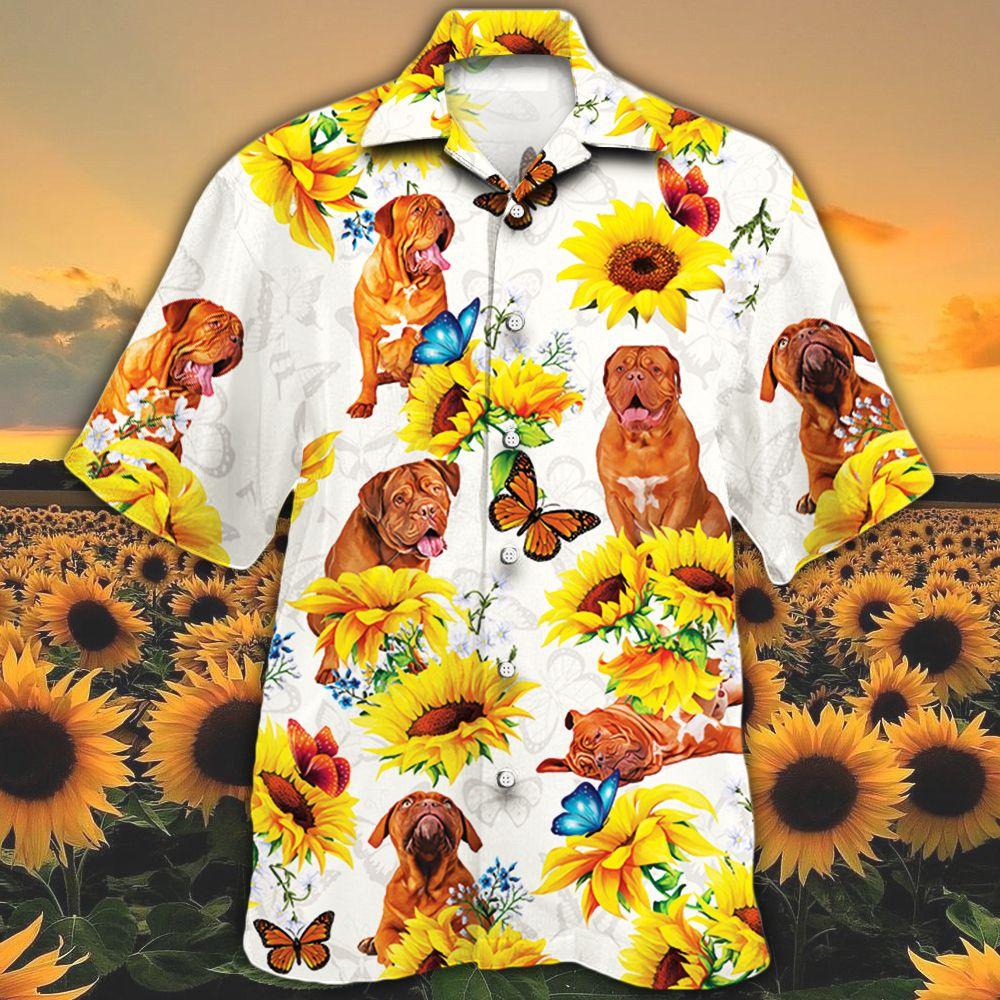 Dogue de Bordeaux Dog Lovers Sun Flower Hawaiian Shirt
