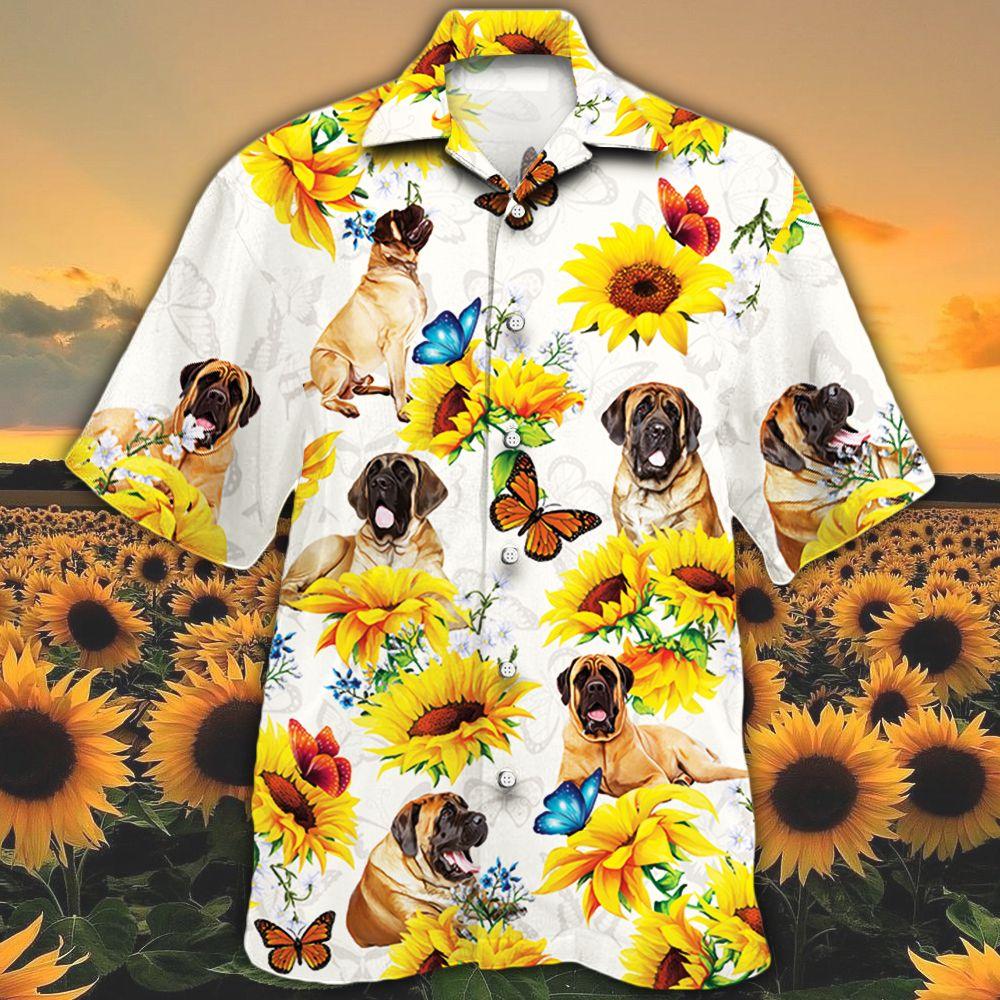 English Mastiff Dog Lovers Sun Flower Hawaiian Shirt