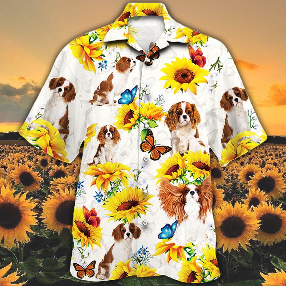 Cavalier King Charles Spaniel Dog Lovers Sun Flower Hawaiian Shirt