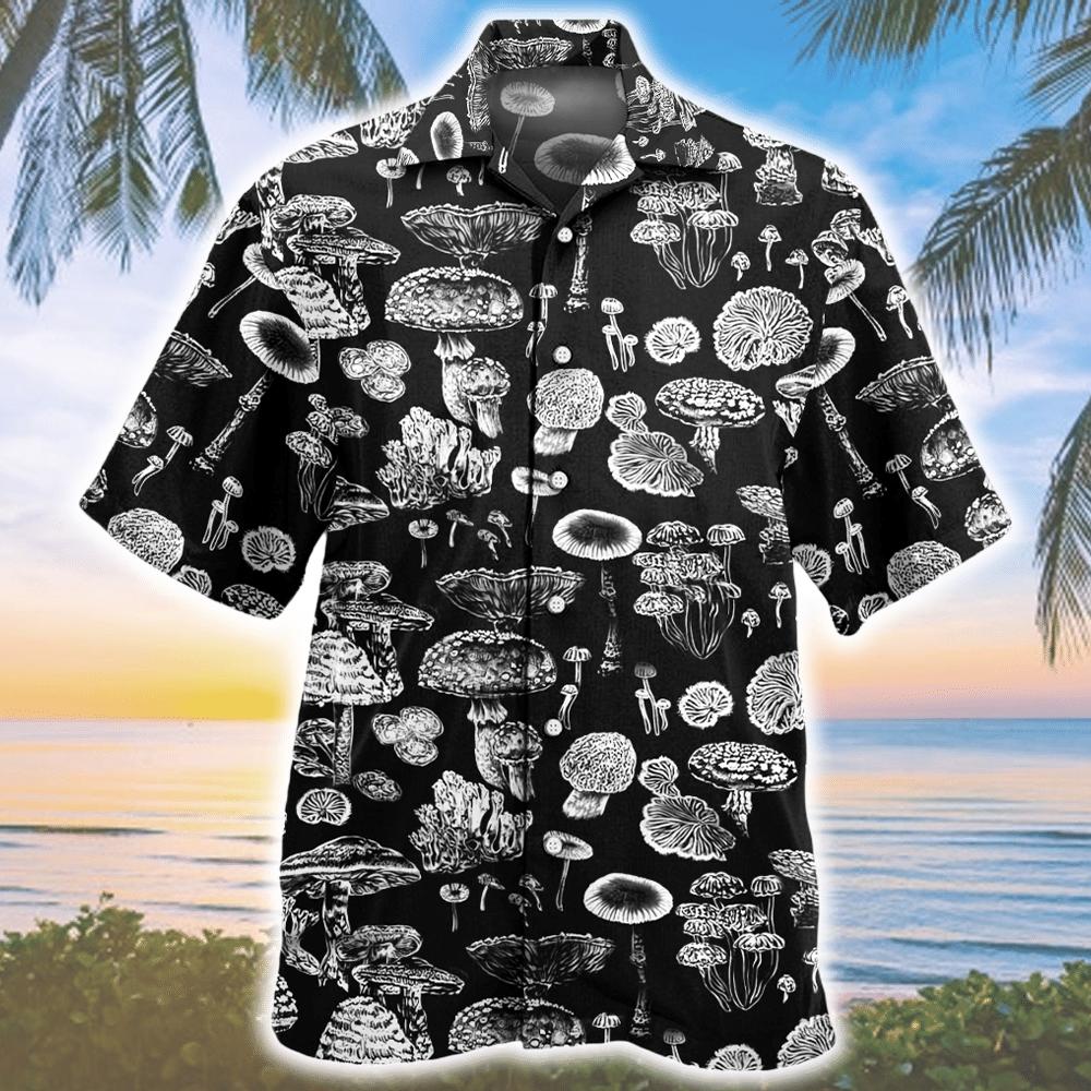Trippy Mushroom Pattern Hawaiian Shirt