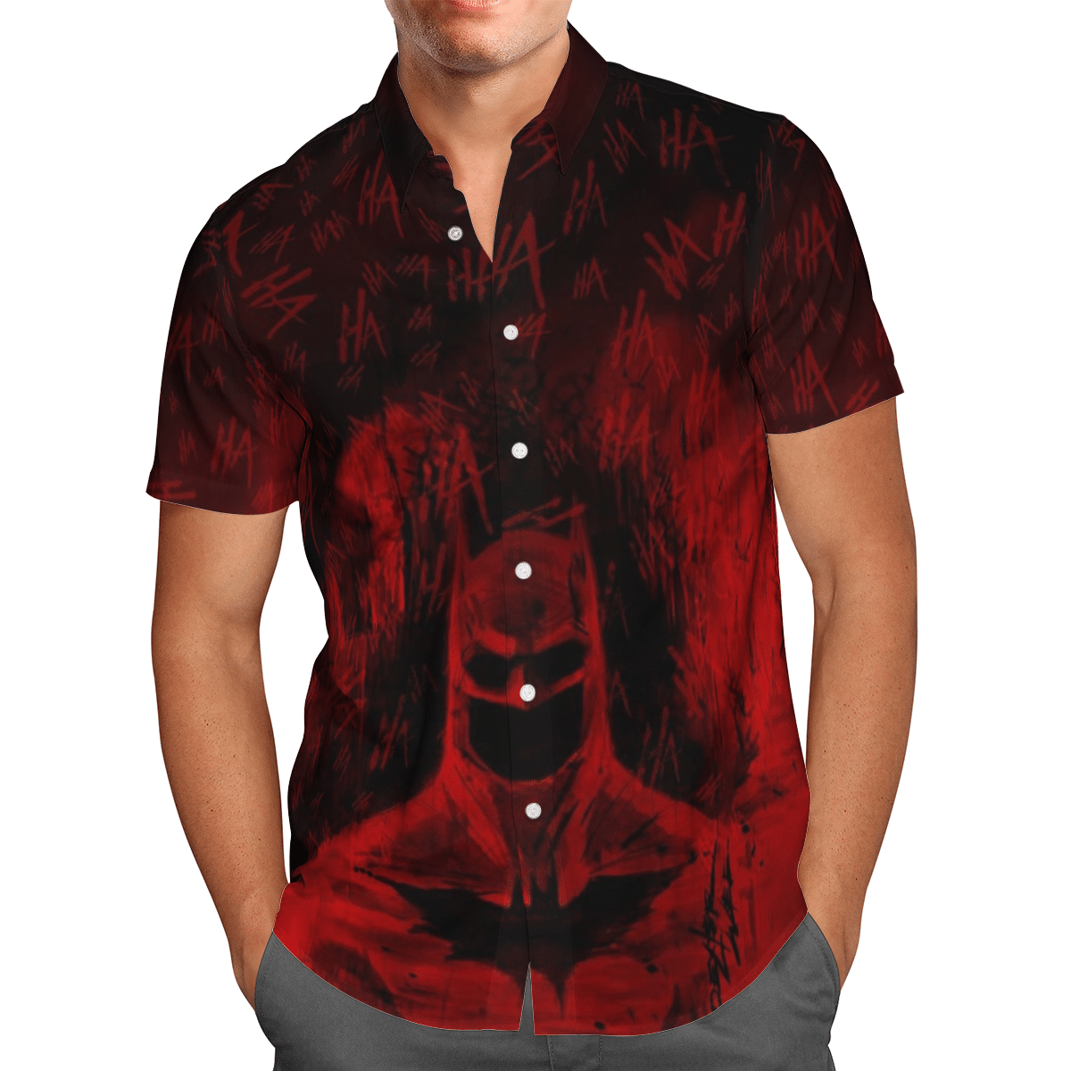 Red batman painting Hahaha Hawaiian Shirt