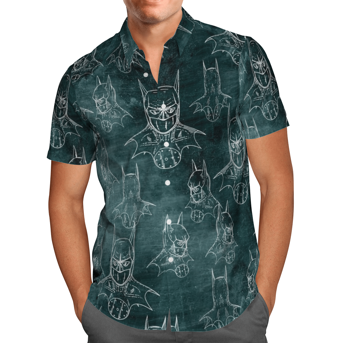 Batman Pattern Uniform Green Hawaiian shirt