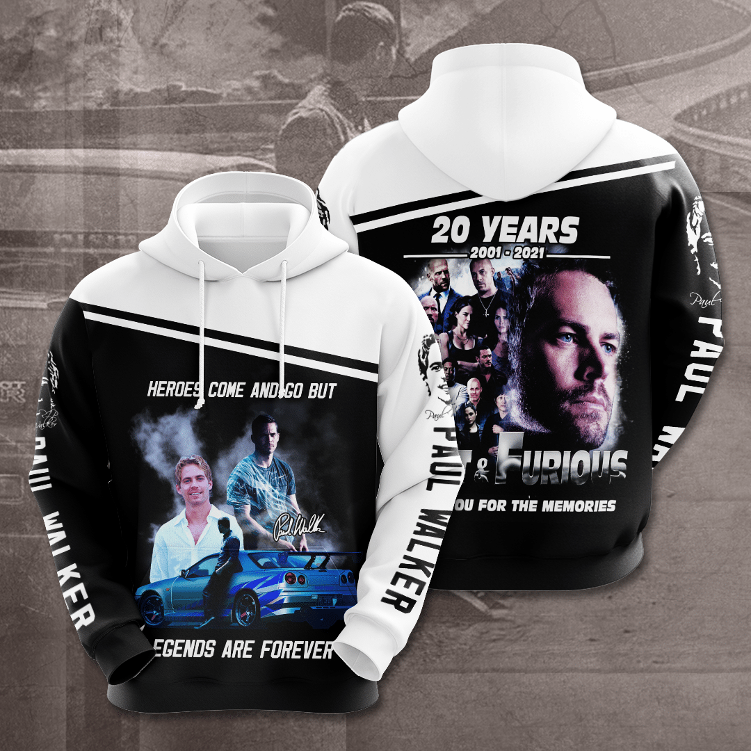 Fast and Furious 20 years Paul Walker Legends are forever 3D Hoodie