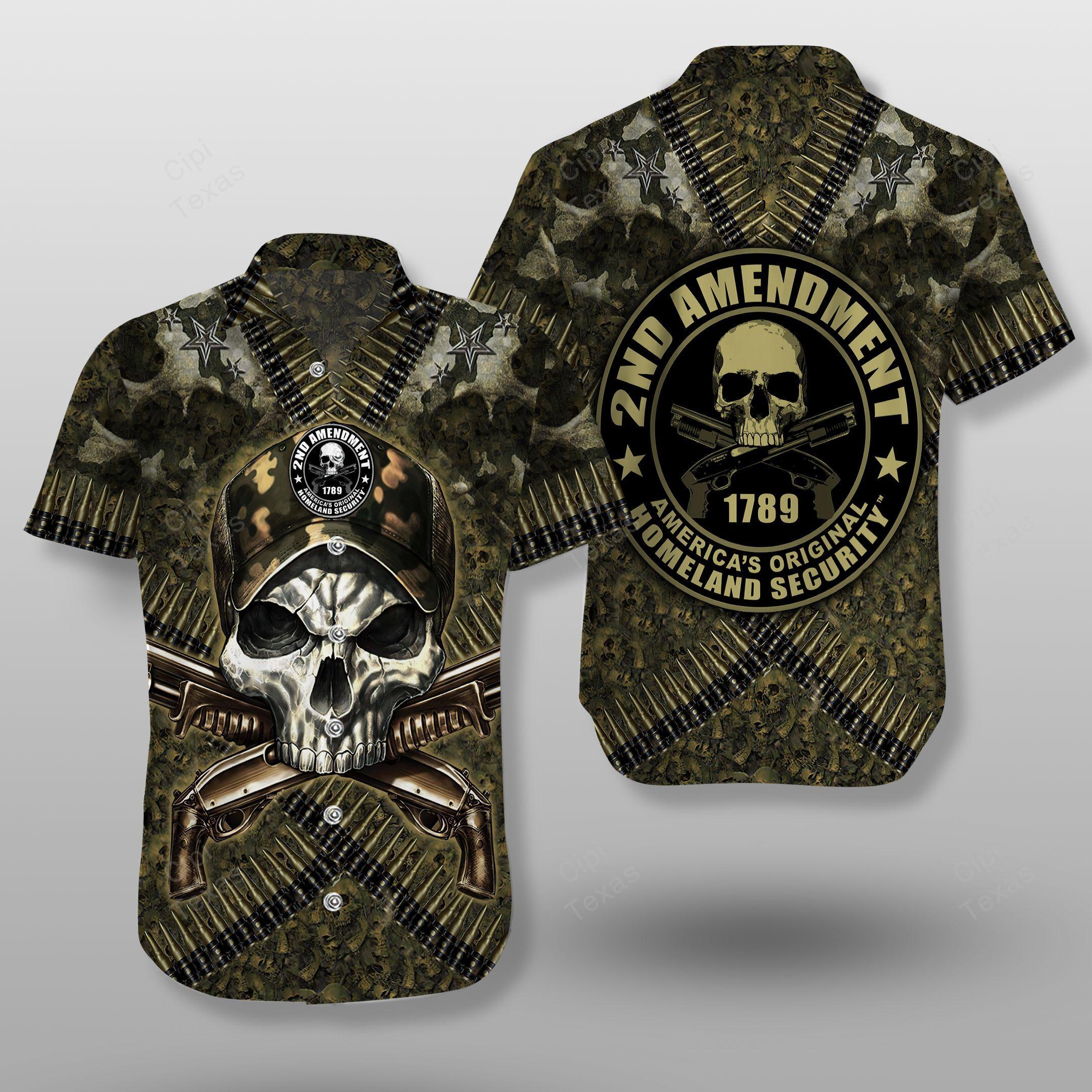 Original Home Land Security 2nd Amendment Skull America Hawaiian Shirt