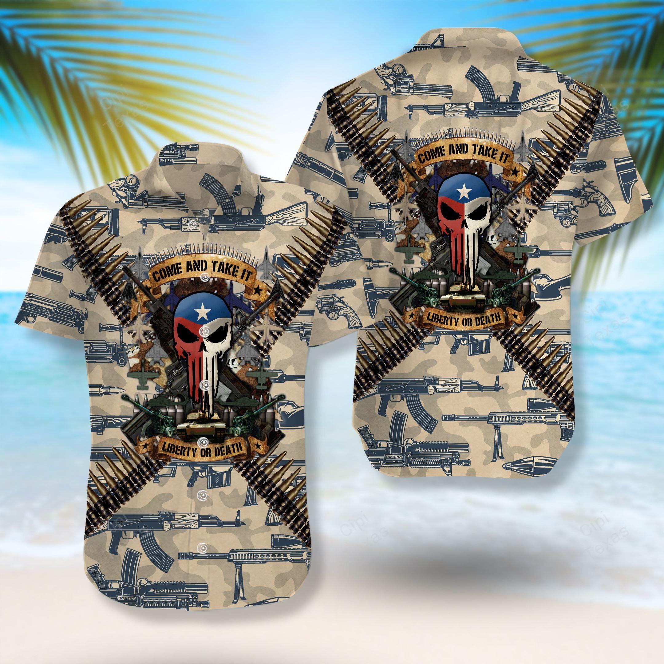 Liberty or Death Come And Take It Skull Texas Hawaiian Shirt