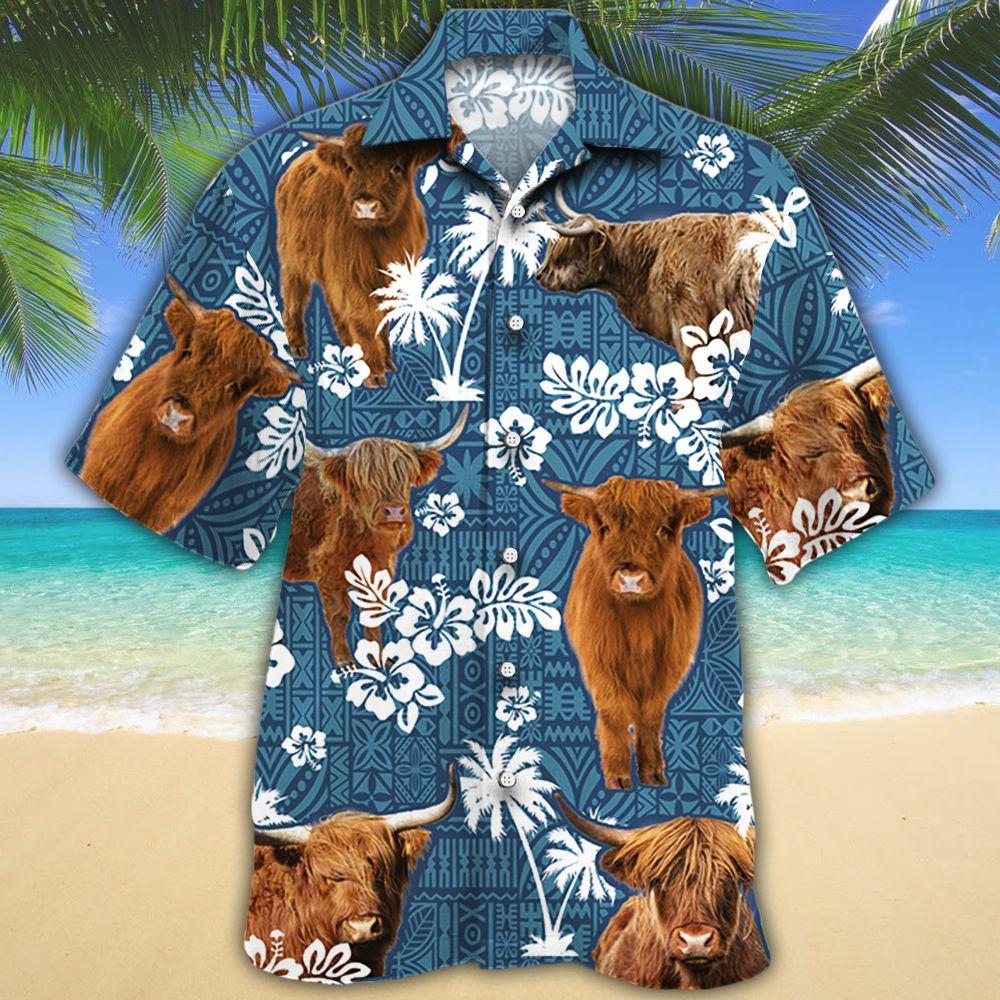 Highland Cattle Lovers Blue Tribal Hawaiian Shirt