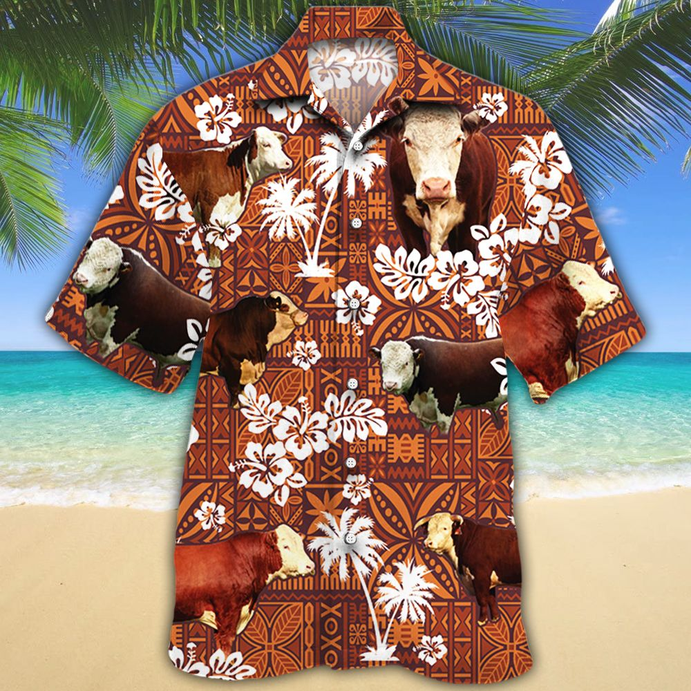 Hereford Cattle Lovers Red Tribal Hawaiian Shirt