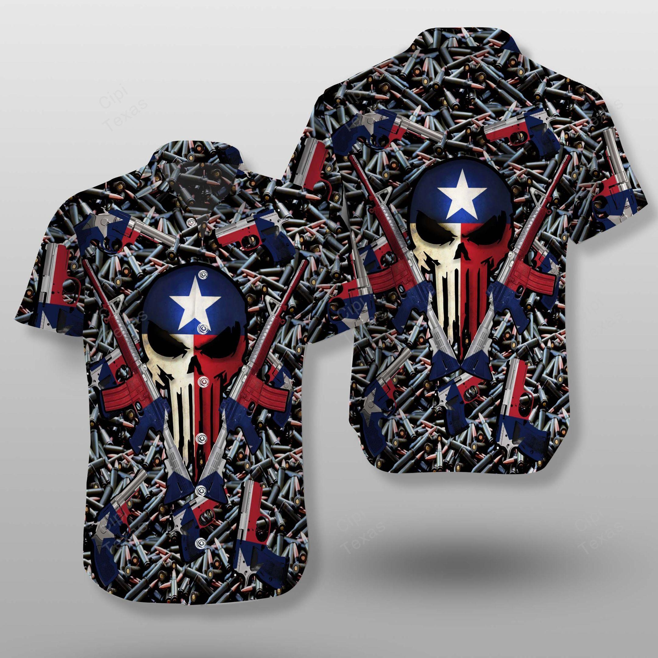 Skull Texas Flag Guns and Bullets Hawaiian Shirt