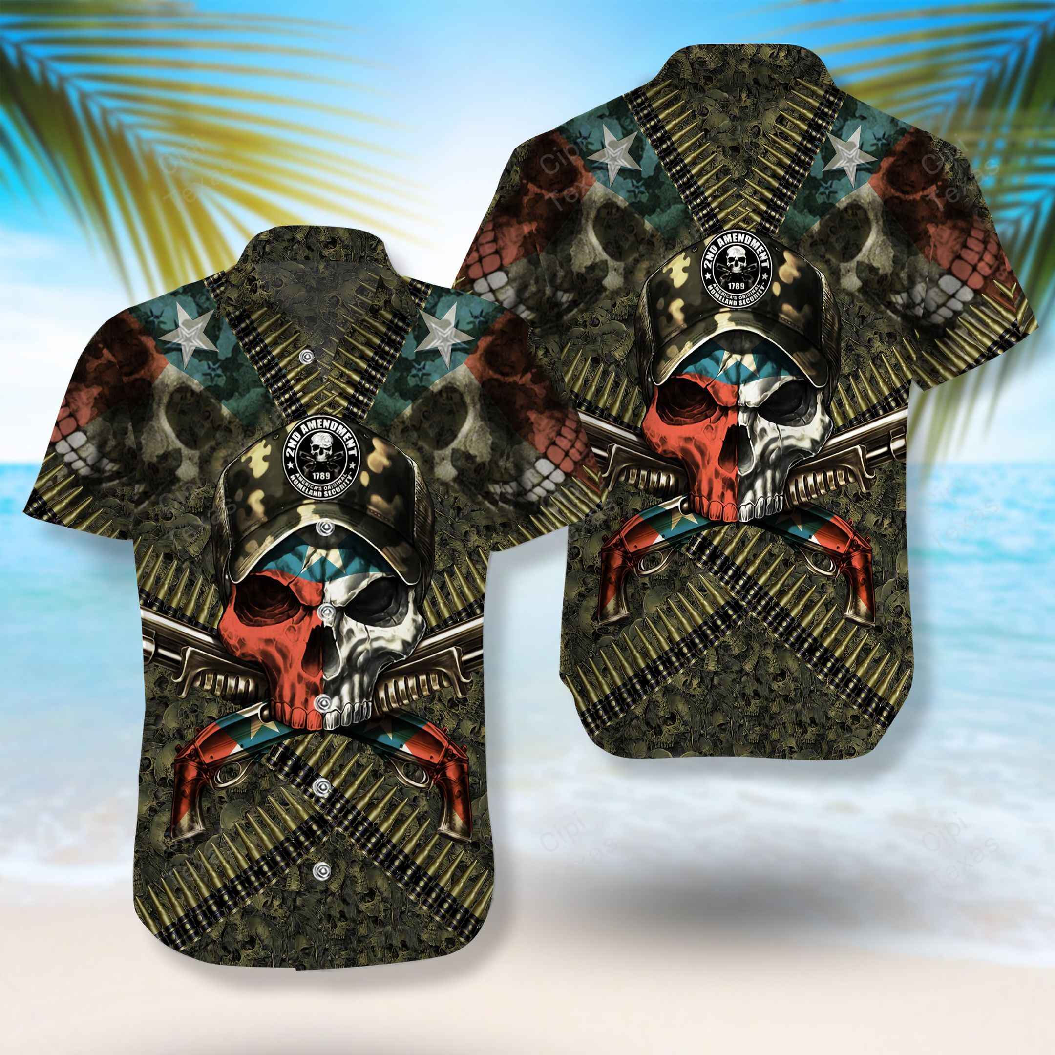2nd Amendment 1789 Texas's Original Homeland Security Skull Hawaiian Shirt